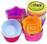 Narutal Home(TM) 24 Stück Silikonform Muffinform Muffinförmchen Backform Kuchenform für Muffins, Brownies, Cupcakes, Kuchen, Eis, Pudding