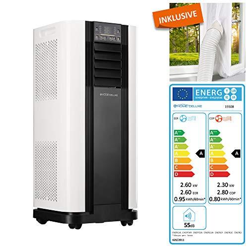 Home Deluxe - Klimaanlage SET Mokli - Mobiles Klimagerät mit 4in1 System: kühlen, heizen, entfeuchten, lüften - 9000 BTU/h (2.600 Watt) - Klima mit Montagematerial, Fernbedienung und Timer (EEK: A)