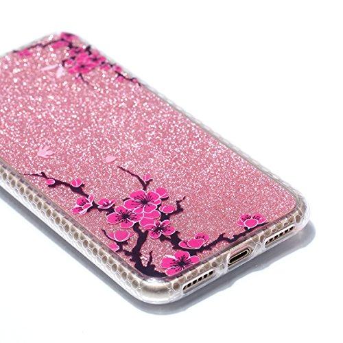 Custodia iphone X 5.8, iphone 10 Cover Glitter, Ekakashop Cover Morbido Sparkly Bling Bling Glitter TPU Silicone Gomma Soft Cover, Belle Bello Trasparente Crystal Clear Protettiva Back Cover Case Cus IMD-Rami di pesco