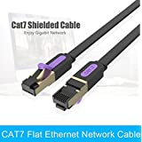 Sanobyte CAT7 15M / 15 Meter Shielded Snagless RJ45 Ethernet Patch Network Cable Professional Gold Plated Plug STP SSTP Wire Flat Cat 7 Networking Cable Premium/ Patch/ Modem/ Router/ LAN / ADSL (Backwards Compatible With Cat 6, Cat 5, Cat 5e) For Use Wit