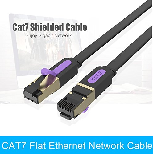Sanobyte CAT7 0.5M / 0.5 Meter Shielded Snagless RJ45 Ethernet Patch Network Cable Professional Gold Plated Plug STP SSTP Wire Flat Cat 7 Networking Cable Premium/ Patch/ Modem/ Router/ LAN / ADSL (Backwards Compatible with Cat 6, Cat 5, Cat 5e) for use with network hardware from Cisco - Netgear - Linksys - Dlink - Belkin - Buffalo - Apple - TPLink - Zyxel  available at amazon for Rs.229