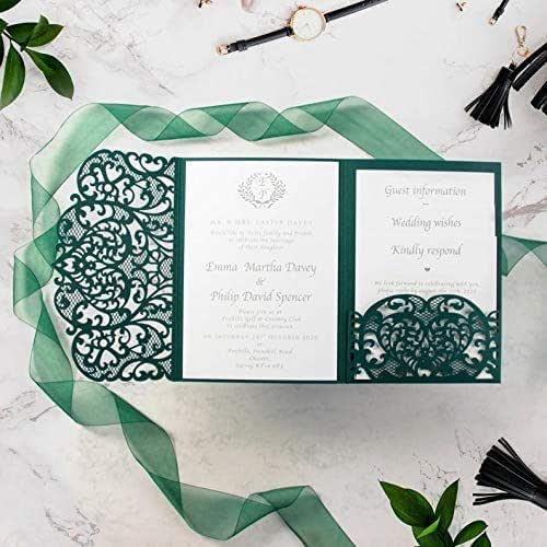 Colore verde bosco elegante apribile taglio laser inviti matrimonio fai da te partecipazioni matrimonio carta con busta - campione prestampato !!