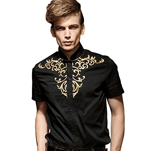 FANZHUAN Camicia Coreana Nera Uomo Maniche Corte Ricamo Moda Vintage
