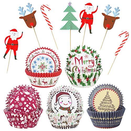 125-er Pack Cupcake-Förmchen aus Papier für Weihnachten, Cupcake-Förmchen mit Weihnachten, Cupcake-Topper, Picks für Weihnachten, Partys, Weihnachten, Backen