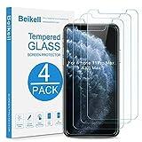 Beikell [Lot de 4] Verre Trempé pour iPhone 11 Pro Max/iPhone XS Max, Film Protection d'écran en Verre Trempé Film Protecteur Vitre-Dureté 9H, 2.5D Bord, Sans Bulles, Anti-rayures 6.5 Pouces