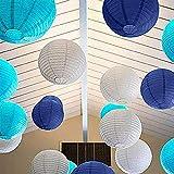 BangShou Papierlaterne Set, 24 Stück Papier Runde Lampions Lampenschirm Papierlampen Hochzeit Feier Dekoration(6