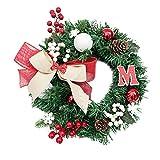 Junjie Nenu 30cm Festival Weihnachtskranz Tür Wand Ornament Garland Dekoration Weihnachten Büro oder zu Hause Garden Präsentieren