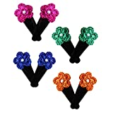 #3: moKanc 4 Pairs of Tic Tac Hair Clips with Handmade Crochet Motif Embellished with a Pearl for Girls