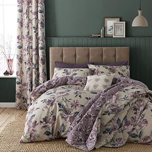 Catherine Lansfield Painted Floral Easy Care Double Duvet Set Plum Best Price and Cheapest