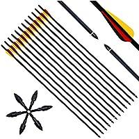 """Narchery Tiro con Arco Flechas y Saetas, 31"""" Pulgadas Arcos y Flechas para Caza o práctica, Incluye Flechas reemplazos, Tres vanes plásticos, Hecho en Carbono Mixta, Tres Colores Multi, 12 pcs"""