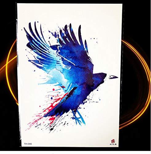 ruofengpuzi 21x15CM Blue Bird Smart Eule Temporäre Tätowierung Aufkleber Eagle Man Tattoo Elf Mond Sexy Water Turn Tattoo Weibliche Brust Bein