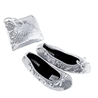 Sequin Silver UK3/4 Roll Up Satin Shoes Foldable Pumps Flats Ballet Dance Ladies After Party Shoes with Foldable Bag