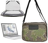 DURAGADGET sacoche / besace vert kaki - motif 'nature monde' - pour ordinateur portable Acer Aspire E1-7, Apple MacBook 15' + bandoulière