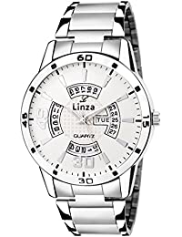 LINZA Analog White Dial Stainless Steel Day And Date Men's Watch (LZ-WH_08)
