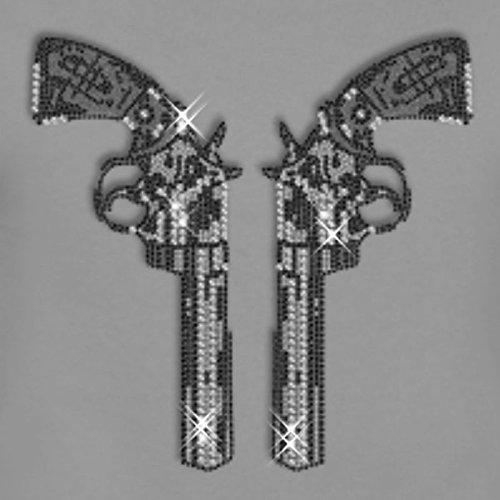 Strass Revolver-Paar XXL zum Aufbügeln Hotfix (Pistole Strass)