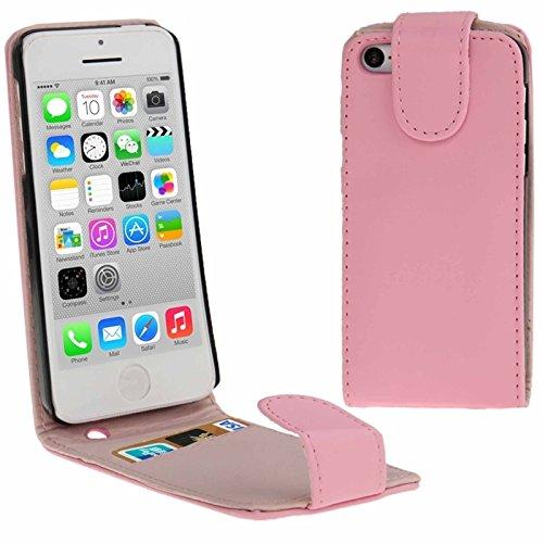 Mxnet Vertikale Flip Leder Tasche mit Kreditkarte Slot für iPhone 5C rutschsicher Telefon-Kasten ( Color : Pink - Iphone 5c Kreditkarten-telefon-kasten