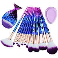 Start Makers Diamond Handle Makeup Brush Set with Big Fish Tail for Foundation Eyeshadow Lips - 12 Pieces