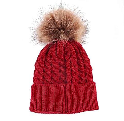 Bonjouree Hiver Enfants Bébé CasquetteChapeau en laine tricoté (Rouge)