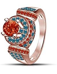 Moda Vorra 14 K Rose de oro 925 plata Disney Princesa anillo de compromiso CZ Mérida