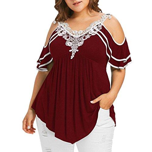 TITIU Damen Plus Size abgestufte Spitze Appliques kalte Schulter mit V-Ausschnitt T-Shirt Tops Oberteil Bluse Tees(Wein,XL)