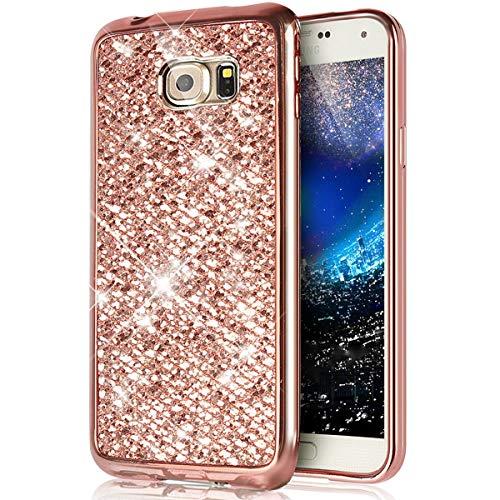 Ukayfe Compatible con Samsung Galaxy S6 Edge, [Espejo-Purpurina Funda] Brillante Glitter Delgada Suave TPU Carcasa, Brillo Case para Anti-Golpes, Resistente a los Arañazos, Antideslizante - Oro Rosa