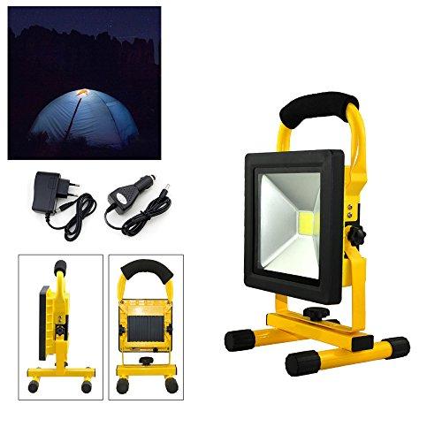 Hengda®20W giallo bianco freddo LED Ricaricabile Portatile Faretto Lampada da lavoro a LED Adattatore e Caricabatteria da auto Incluso