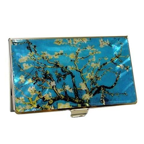 Mère de perle d'amande Blossoms by Van Gogh Art Peinture Design Bleu Business crédit Nom Carte Titulaire cas en métal en acier inoxydable gravé slim Sac à main poche monnaie Portefeuille Argent