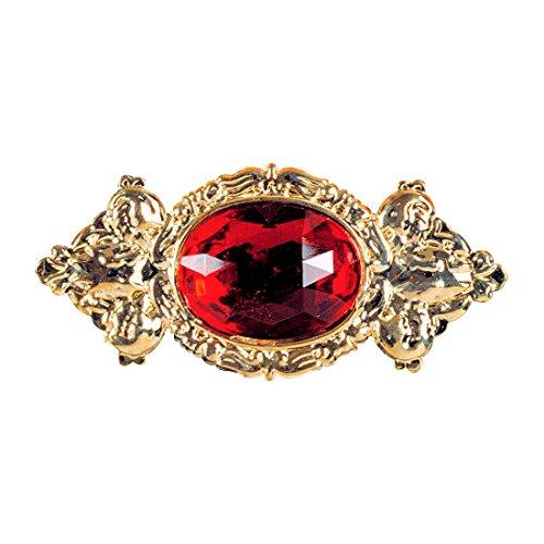Barock Brosche Vintage Anstecker gold, mit rotem Stein Kragen Ansteck Pin Baron Anstecknadel Royal Goldschmuck König Rokoko Anstecknadel Accessoire (Vintage Kostüm Broschen)