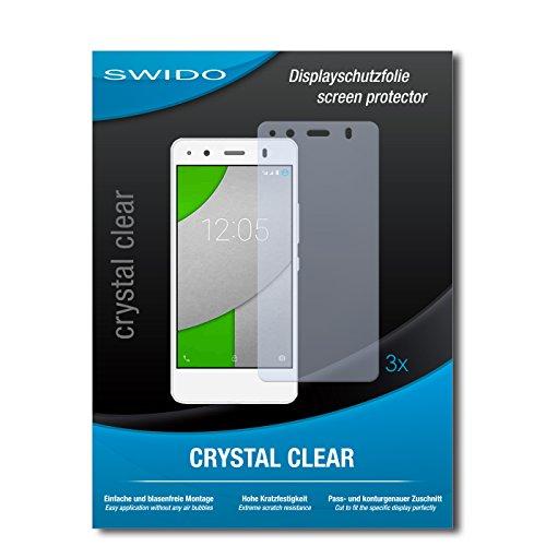 SWIDO Bildschirmschutzfolie für BQ Readers Aquaris A4.5 [3 Stück] Kristall-Klar, Extrem Kratzfest, Schutz vor Öl, Staub & Kratzer/Glasfolie, Bildschirmschutz, Schutzfolie, Panzerfolie