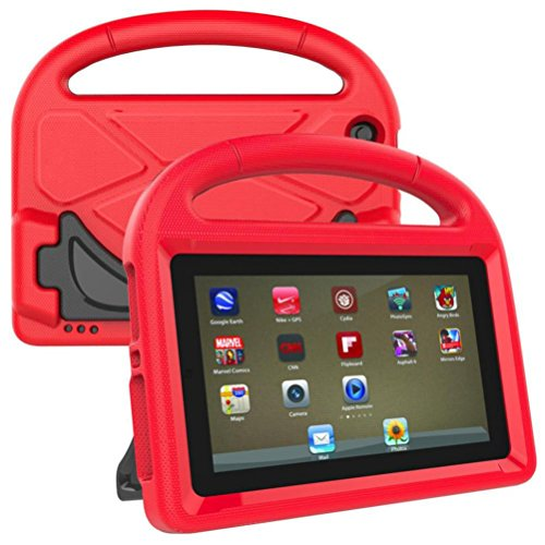Voberry Hülle Case, Kinder EVA Safe Rubber Stand Griff Fall für Amazon Kindle Fire HD 8 2017 7. (Rot) (Kindle Kinder Paperwhite-fälle Für)