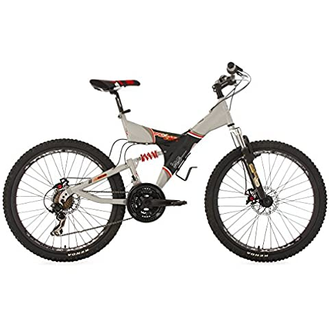KS Cycling Fully G-Acid - Bicicleta de montaña, color gris, talla XS (155-160cm), ruedas 26