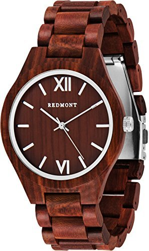 REDMONT Herrenuhr mit Holzarmband Analog Quarz Classic Collection Red Edition