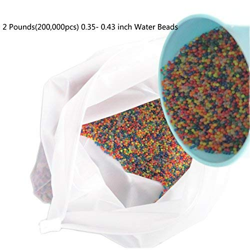 ZHENDUO Riesige 2 Pfund (200.000 Stück) Packung Wasserperlen Water Beads Gel Boden Wasser Kristall Perlen Mischfarben Regenbogen Vase Füllstoff Möbel Dekor Pflanzenboden Dekoration (Perlen 2 Pfund)