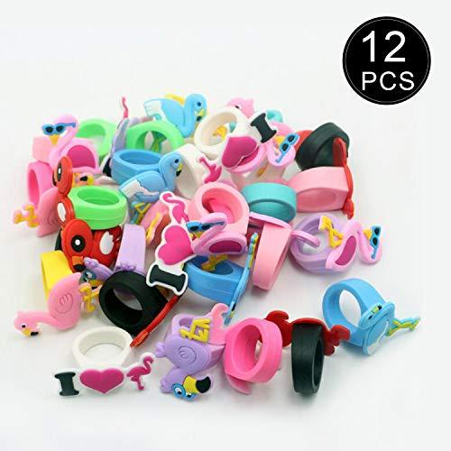 YeeStone Kinderring 12pcs Ring-Set für Kleine Mädchen Bunte Fingerringe für Kinder – für Kindergeburtstag Party Geschenk (Flamingo)