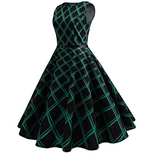 dressing gowns for women plus size, Hirolan slim fit retro o-neck sleeveless dress vintage cocktail party swing dress for girls christmas dress 80s fancy dress up Bodycon Plaid Evening Party Dress
