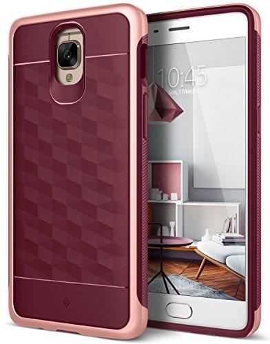 Caseology OnePlus 3T Hülle, [Parallax Serie] Schlank Doppelte Schutz Haftung Dank Textur geometrischem Design [Burgund - Burgundy] für OnePlus 3 Case/OnePlus 3T (2016)