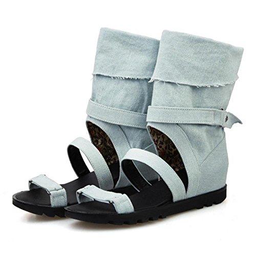 COOLCEPT Femmes Mode Orteil ouvert Denim Talons compenses Sandales Stylish Ete Boots 568 Bleu Clair