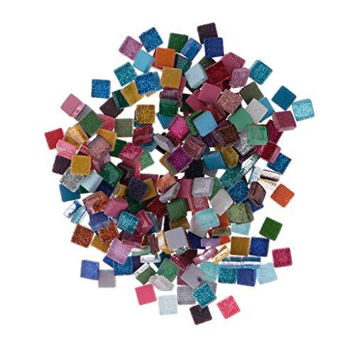 e Sortierte Farbe Klare Glas Mosaik Fliesen Für DIY Handwerk - Quadrat, 200 g ()