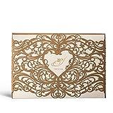 Hochzeitseinladungskarten Wishmade Gold Lasercut Mit Herz Design Blanko Set 20 Stücke inkl Umschläge und Aufkleber