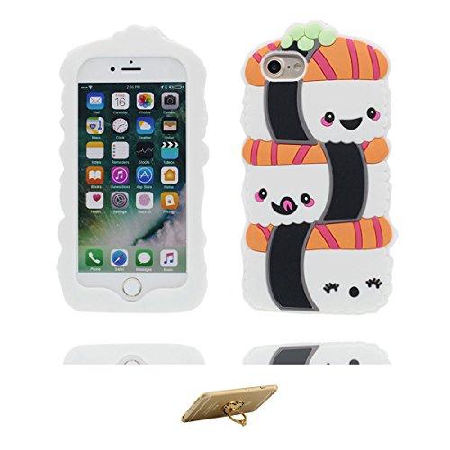 "iPhone 7 Plus Coque Case, TPU Material Flexible iPhone 7 Plus Étui, iPhone 7 Plus Cover 5.5"" [Choc à l'épreuve] [ Pretty Soft Plastique ] ring Support - Cartoon cigarettes 3D COLOR 2"