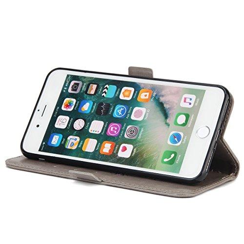 iPhone 7 Plus Cover, Custodia per Apple iPhone 7 Plus, ISAKEN Custodia Fiore e Ragazza Design PU Pelle Book Folding Case Glitter Bling Cover, Supporto Stand e Porta Carte Integrati Portafoglio Flip Co Girl: grigio