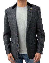 Designer Marc Darcy Men's Regular Fit Checkered Blazer Jacket DX7 Charcoal