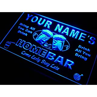p-tm-b Name Personalized Custom Home Bar Beer Neon Light Sign Blue 400mm x 300mm