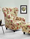 lifestyle4living Ohrensessel mit Webstoff Blumenmuster bezogen | Der perfekte Sessel für entspannte, Lange Fernseh- und Leseabende. Abschalten und genießen!