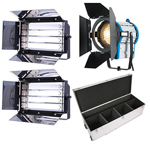 For Sale HWAMART® Kit 1x1000W Fresnel Tungsten Lights 2x Fluorescent 4 bank light FLY CASE WHEELS Online