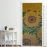 Power-Preise24 Bambus Türvorhang Nature 90 x 200 cm bunter Raumteiler mit 65 Strängen aus Bambus mit beidseitigem Naturmotiv Bambusvorhang zum Aufhängen, Motiv:Sonnenblume