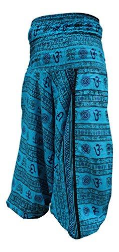 Shopoholic Mode Om Aufdruck Locker sitzend Haremshose,Toller Comfort Yogahose,Hippy Türkis Blau