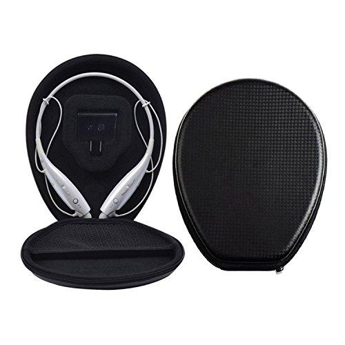 AsiaLONG LG Kopfhörer Tasche PU-Leder Schutztasche Hülle Box für LG Electronics Tone + HBS-730 HBS730 hbs 730 HBS 800 HBS 900 Bluetooth Headset (schwarz)