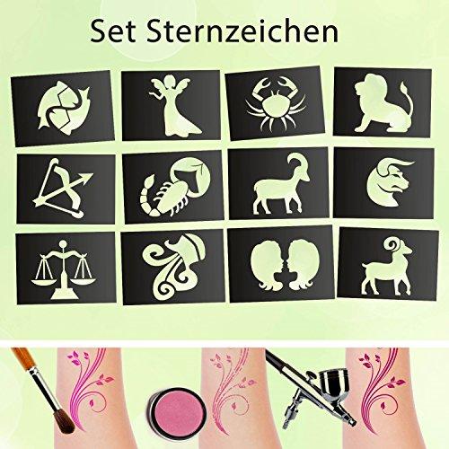 Set di stencil per tatuaggi, segno zodiacale, 12 pezzi, autoadesivi