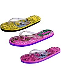 IndiStar Womens Rubber Printed Hawaii Slipper House Flip Flop(Pack Of 3) - B079TYRQRN